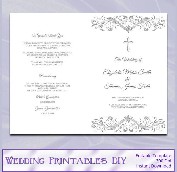 wedding program template 41 free word pdf psd documents download free premium templates. Black Bedroom Furniture Sets. Home Design Ideas