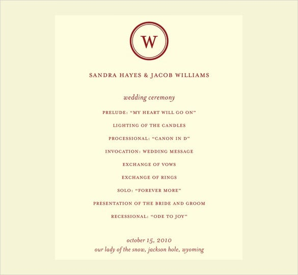 wedding program template free download