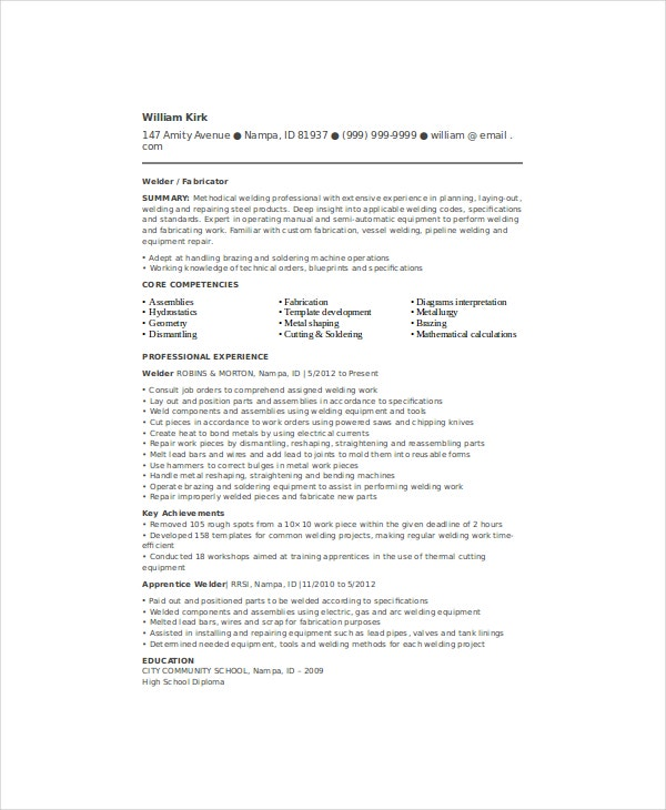 structural welder resume template - Free Sample Welder Resume