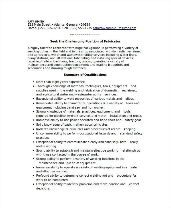 Welder Resume Template 6 Free Word PDF Documents Download – Sample Welder Resume