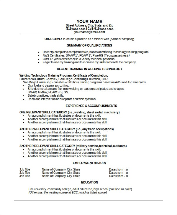 sample welder resume template - Free Sample Welder Resume