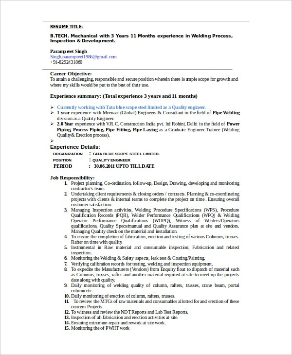 Welder Resume Template   Free Word Pdf Documents Download