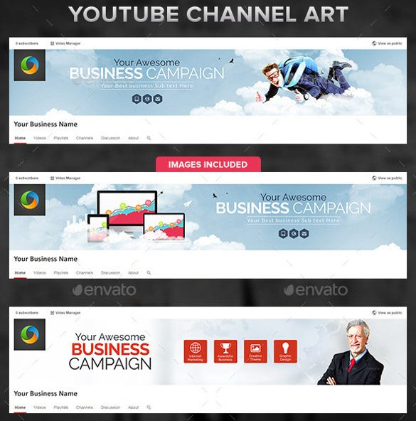 7 designs of corporate youtube channel banners psd format