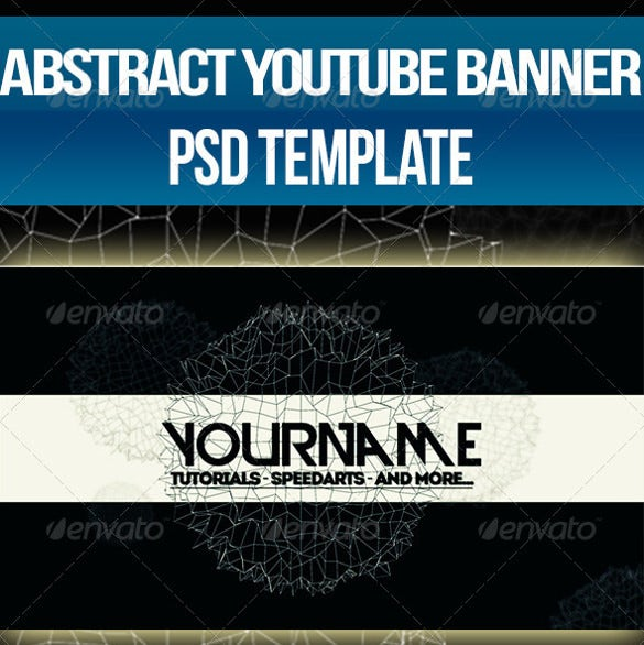 abstract youtube one channel design banner psd design