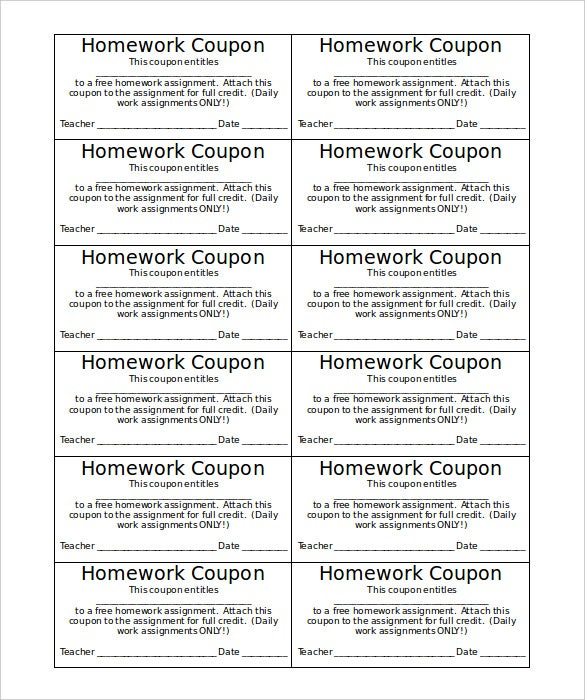 Homework Blank Coupon Template Word Format  Coupon Template
