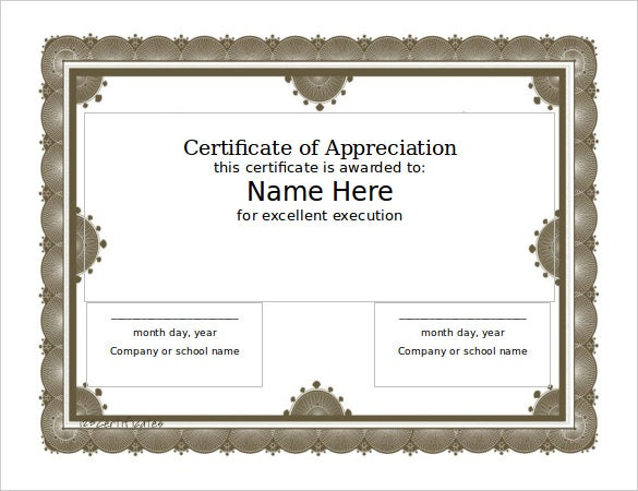 blank award certificate templates for word format