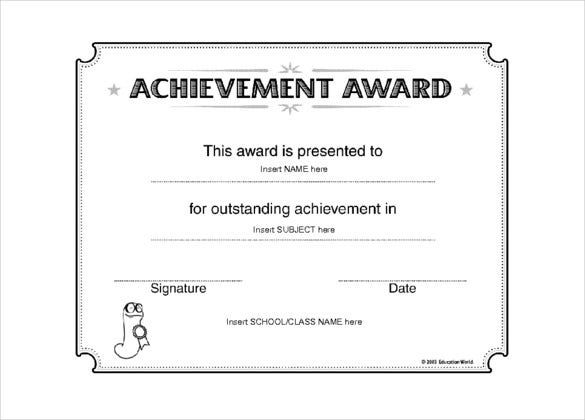 education certificate achievement award template word doc