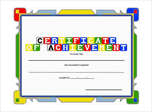 certificate of achievement award for kids pdf download