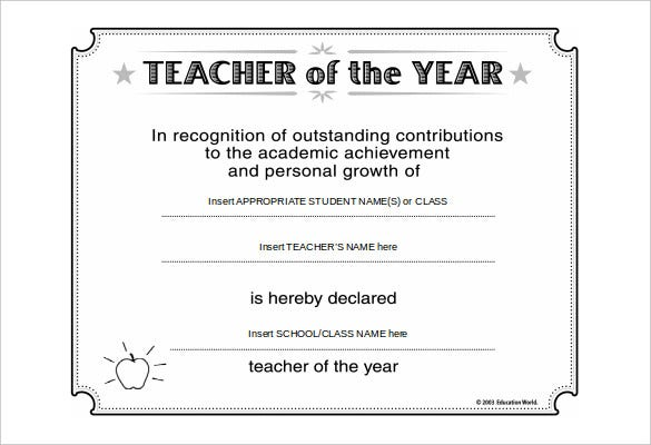 certificate for best teacher word free download