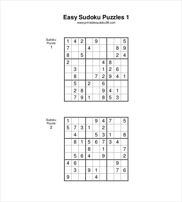 easy sudoku puzzles printale pdf download