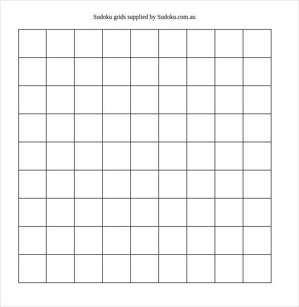 image regarding Blank Sudoku Grid Printable called 7+ Printable Sudoku Templates - Document, Excel, PDF No cost