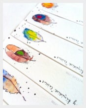 Feather Design Bookmark Template