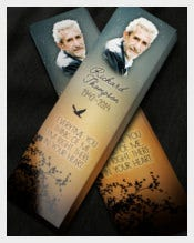 Funeral Bookmark Template With Images