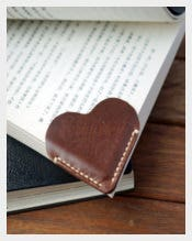 Leather Corner Bookmark with Hearts