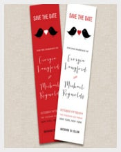 Love Birds Themed Save The Date Bookmark Templates