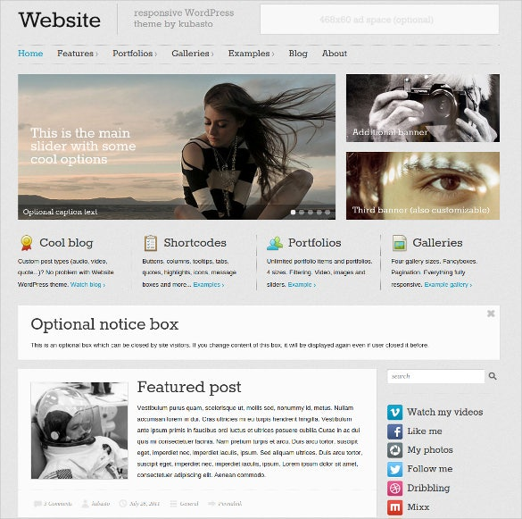 responsive filterable wordpress wesite theme