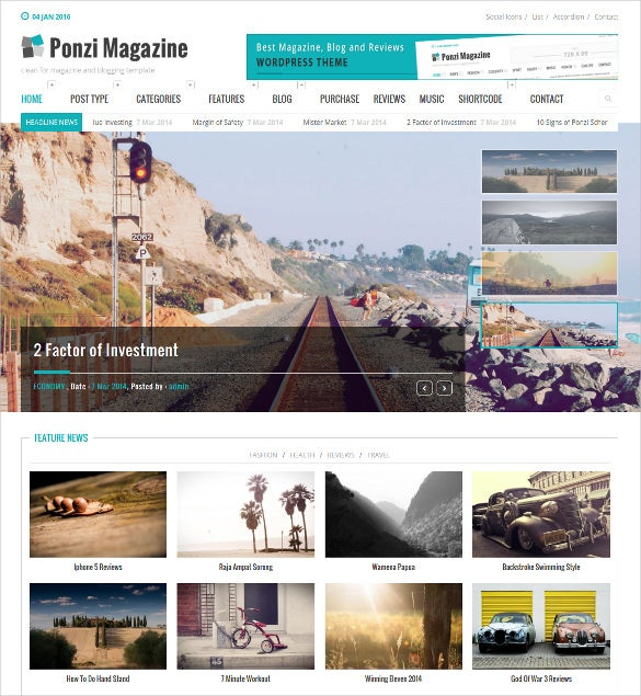 responsive magazine review wordpress website template