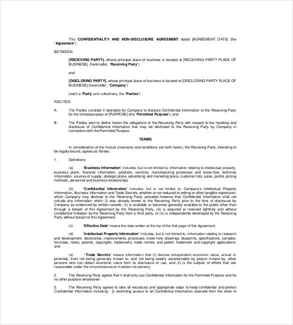 Non Disclosure Agreement Template 14 Free Word Excel PDF – Confidentiality Agreement Form