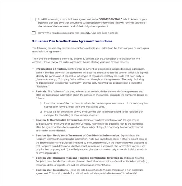Great Business Plan Non Disclosure Agreement Pdf Format