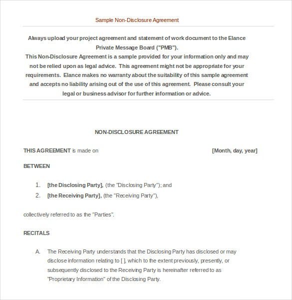 sample personal non disclouser agreement word doc