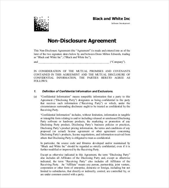 Non Disclosure Agreement Template Free Word Excel PDF - One page nda template
