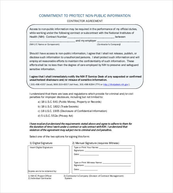 contractor non disclouser agreement sample pdf file