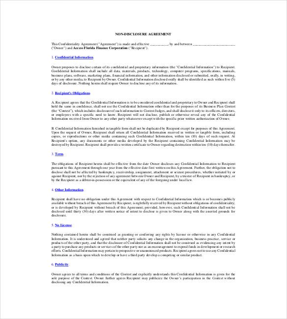 free financial non disclouser agreement pdf download