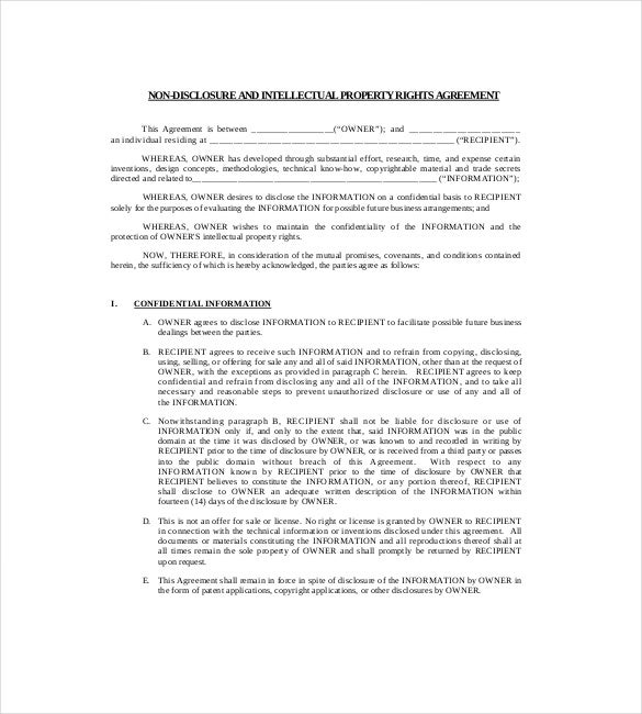 patent non disclouser agreement example pdf file