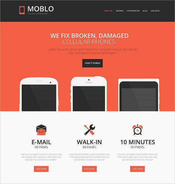 responsive mobile repair shop website theme