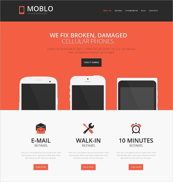 responsive mobile repair shop website theme