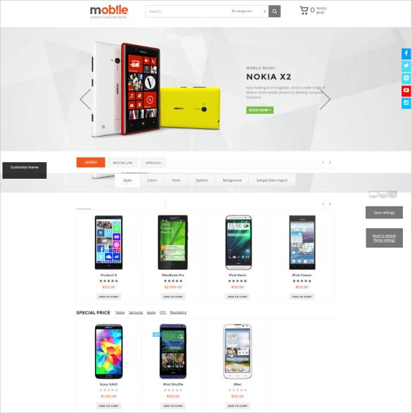online moibile store opencart website template