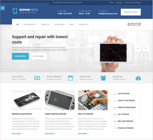 premium mobile repair store wordpress website theme