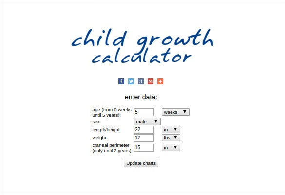 child growth chart percentile onlie