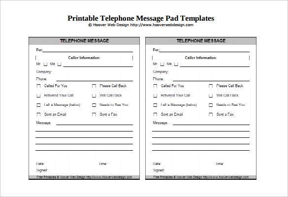 sample telephone message pad template