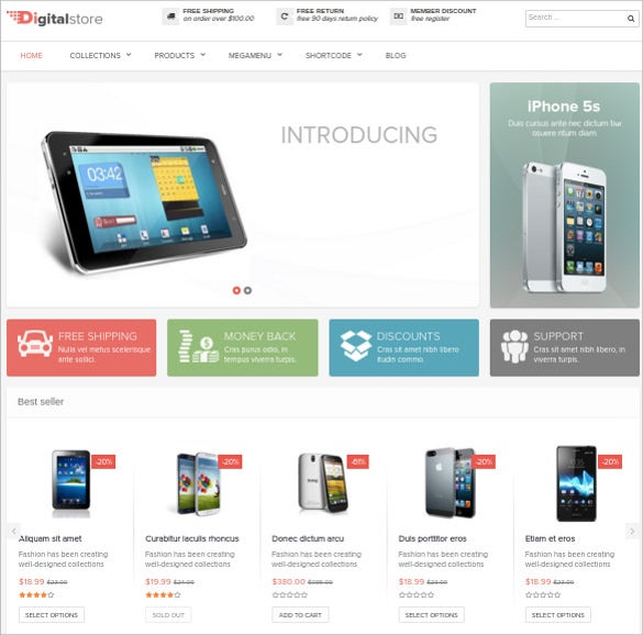 simple mobile store prestashop website template