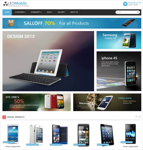 Perfectly Apt For Ecommerce Portals Dealing With Electronics Items Or  Mobiles, Beautiful Mobile Shop PrestaShop Website Theme Can Make Designing  A Fun Deal!