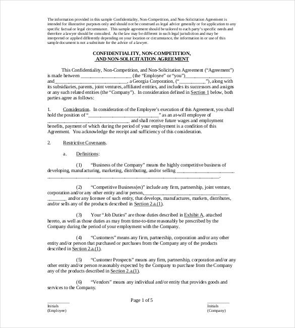 Non Compete Agreement Template   Free Word Excel Pdf