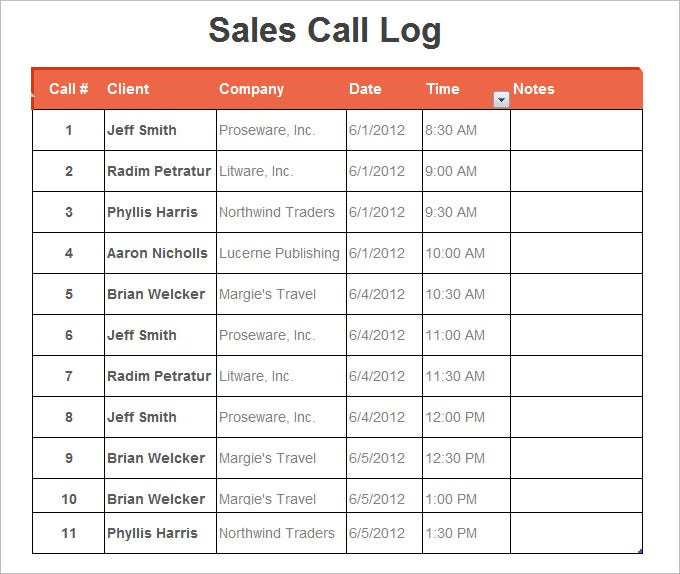 sales call log spreadsheet template excel format