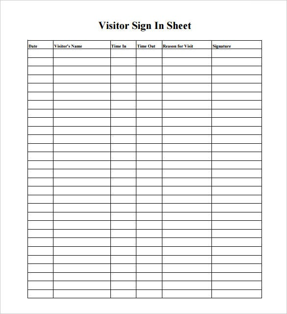Sample key log template mining security forms visitor log for Security sign in sheet template