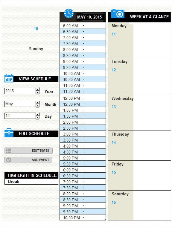 Free Scheduled Daily Activity Log Template Excel