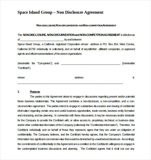Non Compete Agreement Template 10 Free Word Excel PDF – Sample Non Compete Agreement Template