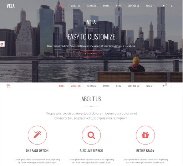 responsive one page business website theme
