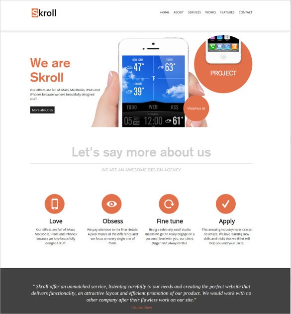 Premium One Page Agency Html5 Website Template