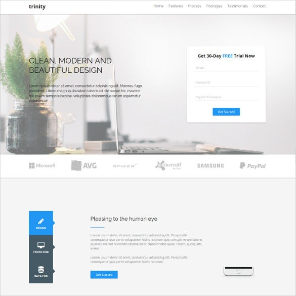 responsive design one page html website theme