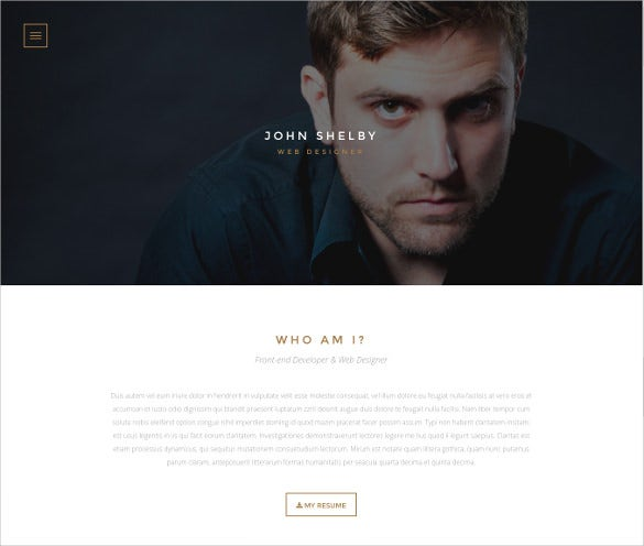 personal one page html website template