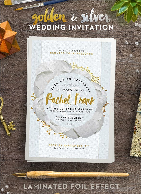 golden and silver wedding invitation psd format download
