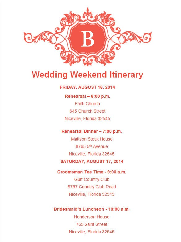 Wedding Itinerary Template | Art Resume ExamplesWedding Itinerary ...