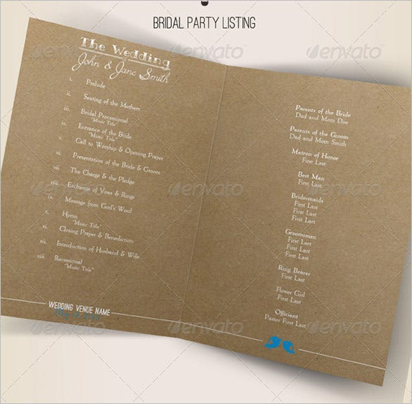 rustic wedding ceremony program indesign format download
