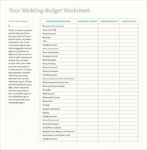 blank wedding budget worksheet planner templat pdf printable