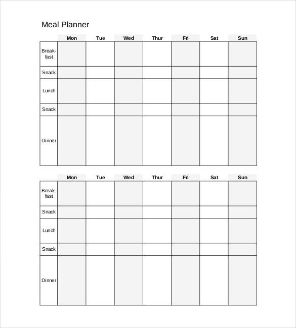 daily meal planner sample pdf format
